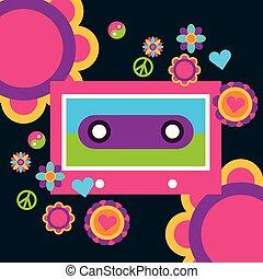 hart, liefde, vrede, kosteloos, muziek, cassette, bloemen, geest