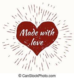 hart, liefde, zonuitbarsting, frame., gemaakt, ouderwetse