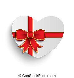 hart, lint, papier, wit rood, kruis