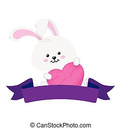 hart, lint, schattig, konijn