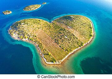 hart, luchtopnames, gevormd, eiland, archipel, galesnjak, zadar, aanzicht