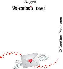 hart, mal, valentine, enveloppe, gesloten, dag, gefrankeerd