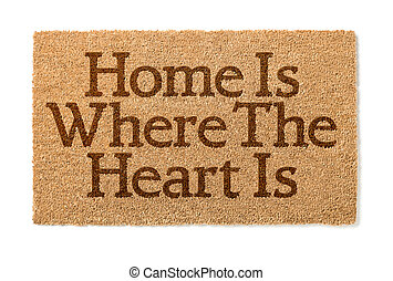 hart, mat, welkom thuis, witte , waar