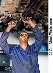 hart, mechaniker, arbeitende , afrikanisch
