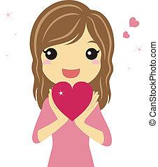 hart, meisje, valentijn