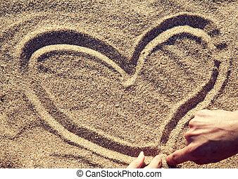hart, mensen, tekening, sand.