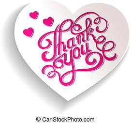 hart, met, de, woorden, bedankt