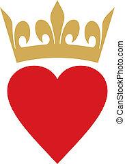 hart, met, kroon
