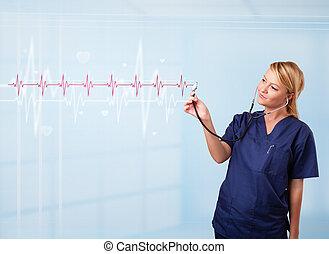 hart, mooi, medisch, pols, tarieven, het luisteren, rood, doktor