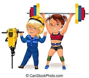 hart, muskulös, frau, weibliche , m�dchen, brassière, sprt, sport, klage, weißes, hantel, berufe, arbeiter, abbildung, baugewerbe, weightlifting, hintergrund, not, starke , heben, bikini, vektor, arbeiten