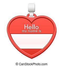 hart, naam, ruimte, vorm, label, kopie