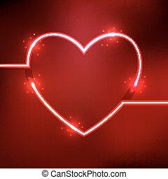 hart, neon, abstract, lijnen, vorm, achtergrond