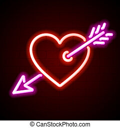 hart, neon, het teken van de pijl