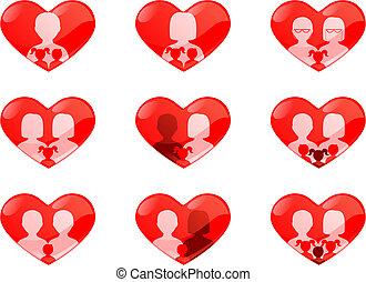hart, niet, families, traditionele , gevormd, knopen
