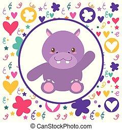 hart, nijlpaard, schattig, achtergrond, baby, bloemen