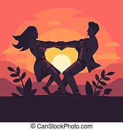 hart, ongeveer, romantische, holing, paar, handen, jonge, ...