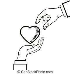 hart, ontwerp, liefde, hand