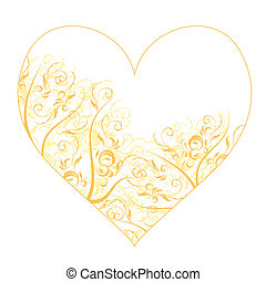 hart, ornament, vorm, ontwerp, floral, jouw