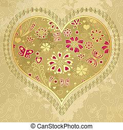 hart, oud, papier, grunge, goud