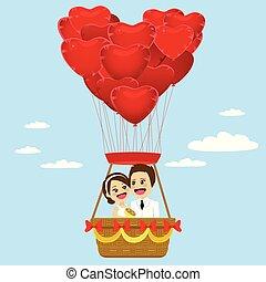 hart, paar, ballons, trouwfeest