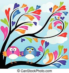hart, paar, boompje, vogels