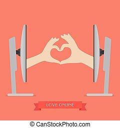 hart, paar, op, twee, vorm, computer, handen, vervaardiging