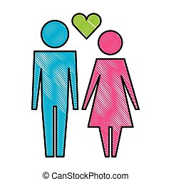 hart, paar, silhouette, avatars, gezin