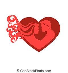hart, paar, silhouette