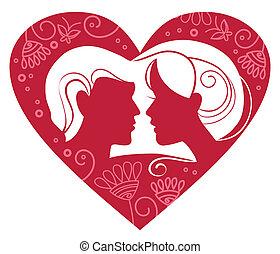 hart, paar, silhouette, floral
