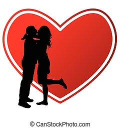 hart, paar, silhouette, illustratie, kussende