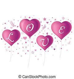 hart, paarse , ballons
