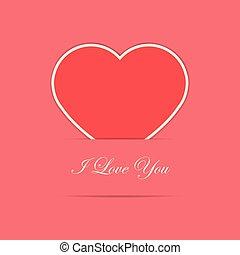 hart, papier, rode kaart, valentijn