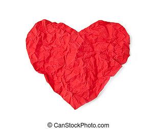 hart, papier, verkreukelen, rood