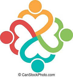 hart, persons.concept, mensen, love.vector, vorm, 4, togehther, pictogram