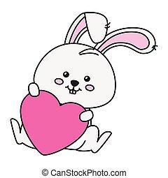hart, pictogram, konijn, schattig, vrijstaand