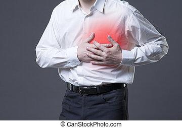 hart, pijn, grijs, borst, achtergrond, aanval, man