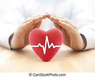 hart, pols, bedekt, door, hands., gezondheid verzekering, concept