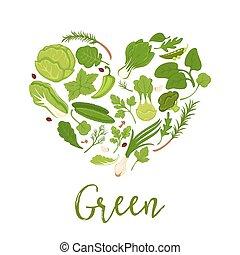 hart, poster, groentes, dieet, sla, vorm, vector, groene, ...