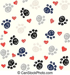 hart, poten, seamless, achtergrond, voetafdruk