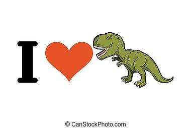 hart, prehistorisch, liefde, monster, predator., dinosaurus, oud, tyrannosaurus., t-rex., groene