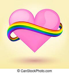 hart, regenboog, lgbt, achtergrond, ribbon.
