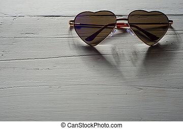 hart, regenboog, zonnebrillen, gevormd, textuur, hout