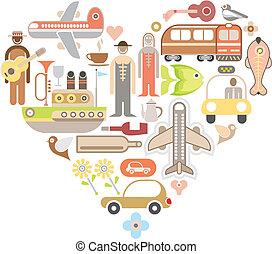 hart, reizen, vorm, iconen