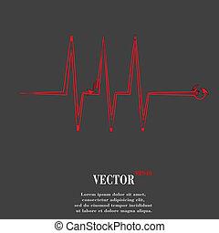 hart, rhythm., plat, moderne, web, knoop, en, ruimte, voor, jouw, tekst