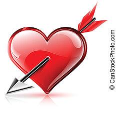 hart, richtingwijzer, vector, glanzend, illustratie