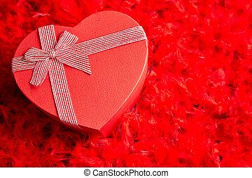 hart, rode veren, geplaatste, cadeau, gevormd, achtergrond, boxed