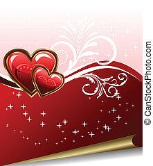 hart, romantische, achtergrond, elegantie