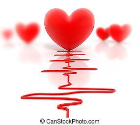 hart, rood, cardiogram, vrijstaand