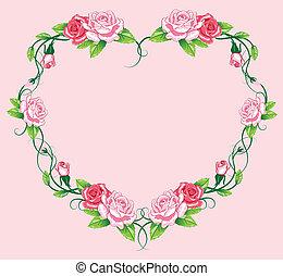 hart, rozen, border., het kunstwerk
