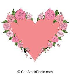 hart, rozen, delicaat, perzik, ingelijst